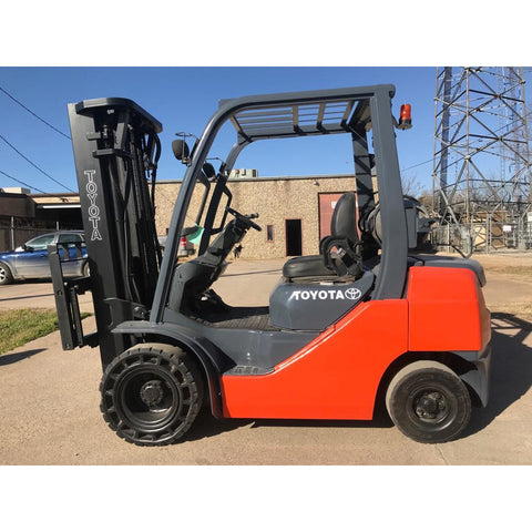 2010 TOYOTA 8FGU25 5000 LB LP GAS FORKLIFT PNEUMATIC 105/189 3 STAGE MAST SIDE SHIFTER 5500 HOURS STOCK # BFE0688-PRTX