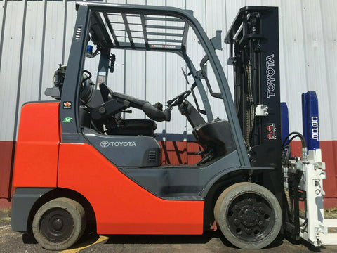 "2015 TOYOTA 8FGCU32 5000 LB LP GAS FORKLIFT CUSHION 132"" 2 STAGE MAST SIDE SHIFTER 6077 HOURS STOCK # BF9627389-MWWI"