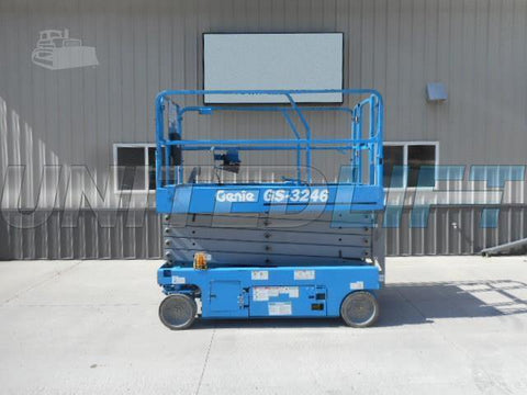 2012 GENIE GS3246 SCISSOR LIFT 32' REACH 24 VOLT ELECTRIC SMOOTH CUSHION TIRES 202 HOURS STOCK # BF9142029-RHWI