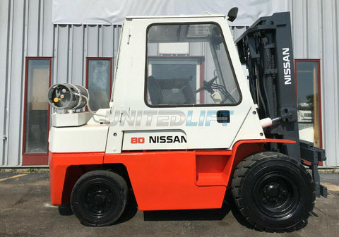 "1995 NISSAN BF03A35V 8000 LB LP GAS FORKLIFT PNEUMATIC TIRES 89'187"" 3 STAGE MAST SIDE SHIFTER 9501 HOURS STOCK # BF9990059-MWWI"