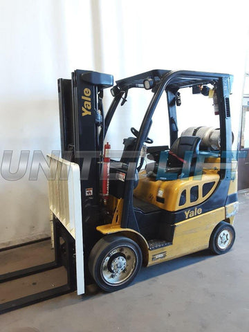 2015 YALE GLC050VX 5000 LB LP GAS FORKLIFT CUSHION 83/187 3 STAGE MAST SIDE SHIFTER 15531 HOURS STOCK # BF9225769-NCB