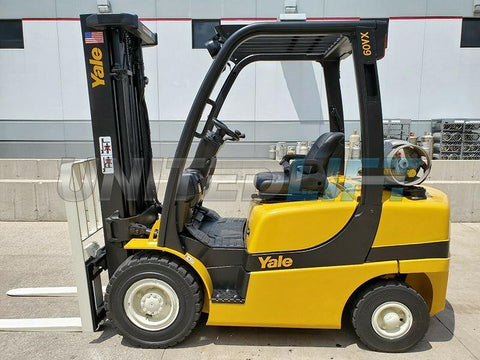 "2007 YALE GLP060VX 6000 LB LP GAS FORKLIFT PNEUMATIC 91/187"" 3 STAGE MAST SIDE SHIFTER STOCK # BF9829229-RIL"