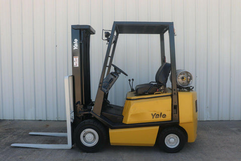 2007 YALE GLP040 4000 LB LP GAS FORKLIFT PNEUMATIC 84/130 2 STAGE MAST 8459 HOURS STOCK # 7645-573997-ARB