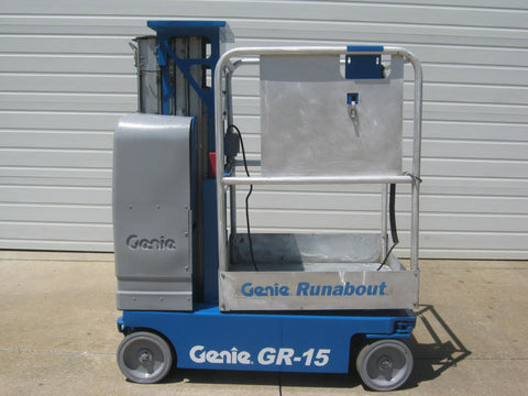 2007 GENIE GR15 500 LBS ELECTRIC PERSONNEL LIFT 15′ REACH CUSHION 277 HOURS STOCK # BF922387-RIL