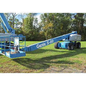 2008 GENIE S80 TELESCOPIC BOOM LIFT AERIAL LIFT 80' REACH DIESEL 4WD 4107 HOURS STOCK # BF54340-DPA