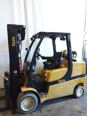 "2013 YALE GLC100VX 10000 LB LP GAS FORKLIFT CUSHION 92/185"" 3 STAGE MAST SIDE SHIFTER 7374 HOURS STOCK # BF9237949-NCB - United Lift Equipment LLC"