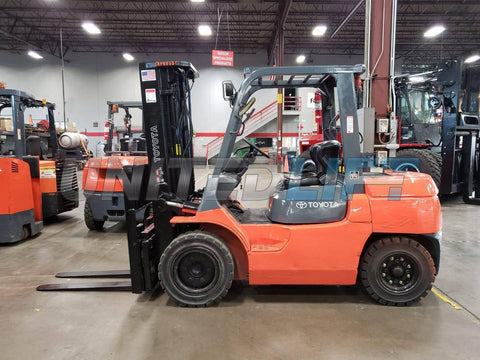 "2013 TOYOTA 7FGU35 8000 LB LP GAS FORKLIFT PNEUMATIC 187"" 3 STAGE MAST SIDE SHIFTING FORK POSITIONER 4590 HOURS STOCK # BF9723669-PROKY"