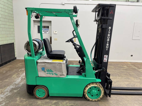 "1995 MITSUBISHI FGC15 3000 LB LP GAS FORKLIFT CUSHION 83/189"" 3 STAGE MAST SIDE SHIFTER 8635 HOURS STOCK # BF9125309-BEMIN"