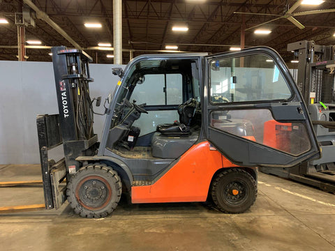 "2016 TOYOTA 8FG35U 8000 LB LP GAS FORKLIFT PNEUMATIC 132"" 2 STAGE MAST SIDE SHIFTER ENCLOSED CAB 2850 HOURS STOCK # BF9350229-PROKY - United Lift Equipment LLC"