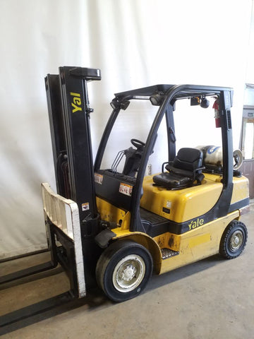 2008 YALE GLP050VX 5000 LB LP GAS FORKLIFT PNEUMATIC 88/200 3 STAGE MAST SIDE SHIFTER 7124 HOURS STOCK # BF21713-NCB - united-lift-equipment