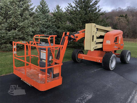 2018 JLG 450AJ ARTICULATING BOOM LIFT AERIAL LIFT WITH JIB ARM 45' REACH DUAL FUEL 4WD 879 HOURS STOCK # BF9541369-ISNY