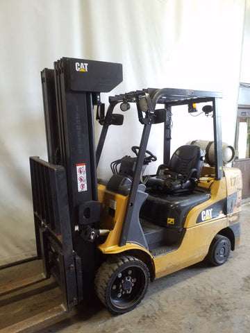 2015 CATERPILLAR C6000 6000 LB LP GAS FORKLIFT CUSHION 88/258 QUAD MAST SIDE SHIFTER 12047 HOURS STOCK # BF21520-NCB - united-lift-equipment