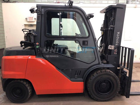 2014 TOYOTA 8FG45U 10000 LB LP GAS FORKLIFT CUSHION 92/132 2 STAGE MAST SIDE SHIFTING FORK POSITIONER ENCLOSED CAB 8293 HOURS STOCK # BF9101699-BEMIN