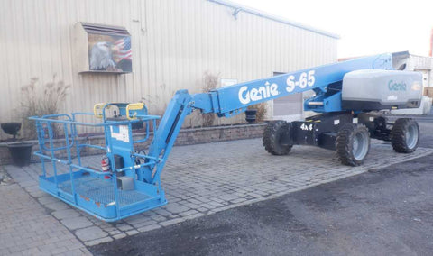 2017 GENIE S65 TELESCOPIC STRAIGHT BOOM LIFT AERIAL LIFT WITH JIB ARM 65' REACH DIESEL 4WD 599 HOURS STOCK # BF9693129-NLEQ - United Lift Used & New Forklift Telehandler Scissor Lift Boomlift