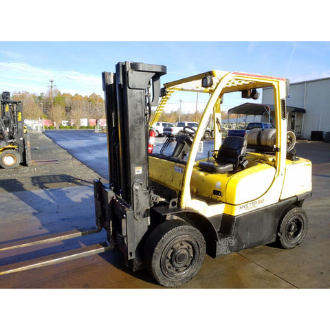 2011 HYSTER H80FT 8000 LB LP GAS FORKLIFT PNEUMATIC 90/185 3 STAGE MAST SIDE SHIFTER 5707 HOURS STOCK # 21298-NCB