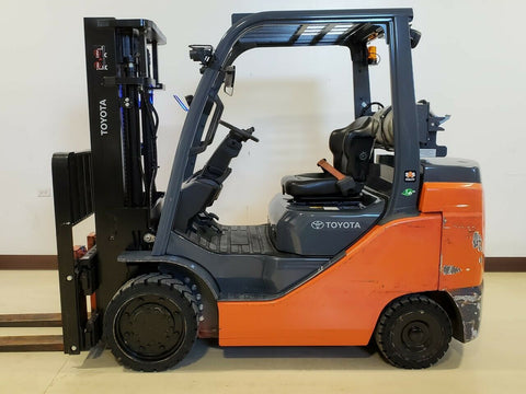 "2020 TOYOTA 8FGC35U 8000 LB LP GAS FORKLIFT CUSHION 81/120"" 2 STAGE MAST SIDE SHIFTER 180 HOURS STOCK # BF9257579-RIL - United Lift Equipment LLC"