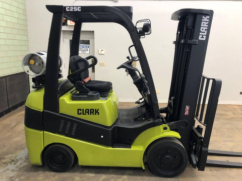 "2013 CLARK C25CL 5000 LB CAPACITY LP GAS FORKLIFT CUSHION 83/189"" 3 STAGE MAST SIDE SHIFTER 5838 HOURS STOCK # BF9101309-BEMIN"