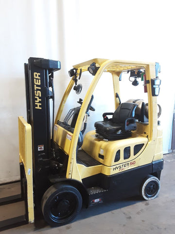 "2014 HYSTER S50FT 5000 LB LP GAS FORKLIFT CUSHION 82/189"" 3 STAGE MAST SIDE SHIFTING FORK POSITIONER 12497 HOURS STOCK # BF9235389-NCB - United Lift Used & New Forklift Telehandler Scissor Lift Boomlift"