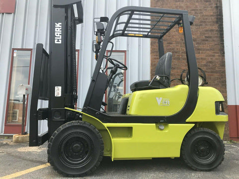 "CLARK SF253 5000 LB LP GAS FORKLIFT PNEUMATIC 197"" 3 STAGE MAST SIDE SHIFTER 1837 HOURS STOCK # BF9856289-MWWI"