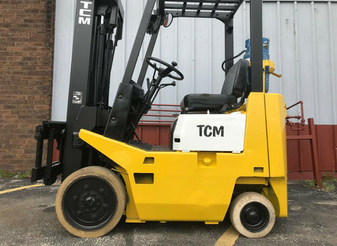 "1990 TCM FCG15NT 3000 LB LP GAS FORKLIFT CUSHION 171"" 3 STAGE MAST SIDE SHIFTER STOCK # BF9001889-MWWI"