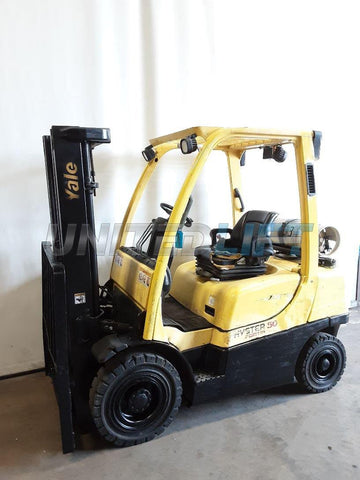 "2010 HYSTER H50FT 5000 LB LP GAS FORKLIFT PNEUMATIC 83/189"" 3 STAGE MAST SIDE SHIFTER 3556 HOURS STOCK # BF9230549-NCB"