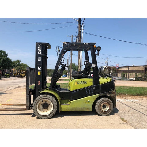 2015 CLARK C30 6000 LB LP GAS FORKLIFT PNEUMATIC 84/189 3 STAGE MAST SIDE SHIFTER 9884 HOURS STOCK # BFCE3350-PRTX