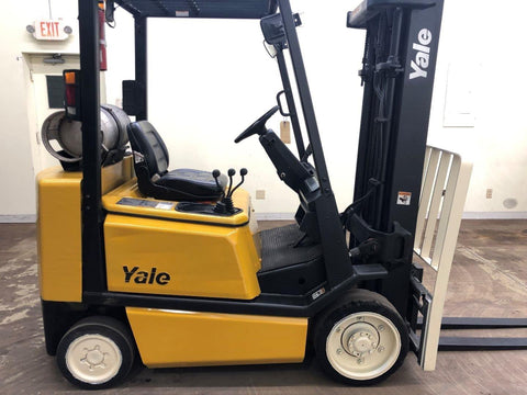 2002 YALE GLC050TG 5000 LB LP GAS FORKLIFT CUSHION 82/189 3 STAGE MAST SIDE SHIFTER 17169 HOURS STOCK # BF9092799-BEMIN