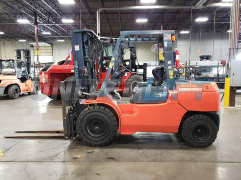 "2006 TOYOTA 7FGU45 10000 LB LP GAS FORKLIFT PNEUMATIC 89/187"" 3 STAGE MAST SIDE SHIFTING FORK POSITIONER 6821 HOURS STOCK # BF9613449-PROKY"