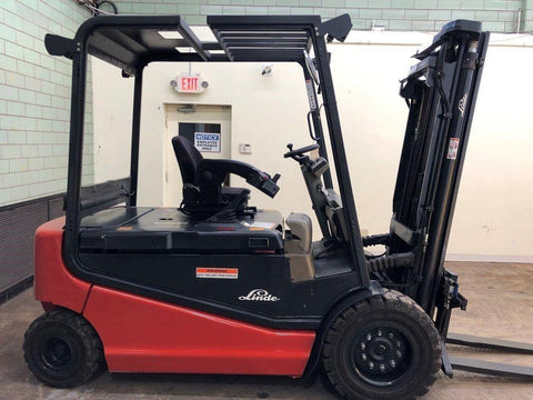 "2005 LINDE R60-40 8000 LB ELECTRIC FORKLIFT PNEUMATIC 92/192"" 3 STAGE MAST 1458 HOURS STOCK # BF9100799-BEMIN"