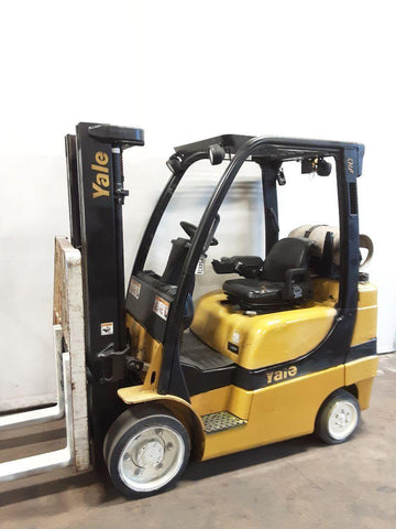 "2005 YALE GLC060 6000 LB LP GAS FORKLIFT CUSHION 85/181"" 3 STAGE MAST SIDE SHIFTER 6162 HOURS STOCK # BF9234939-NCB"