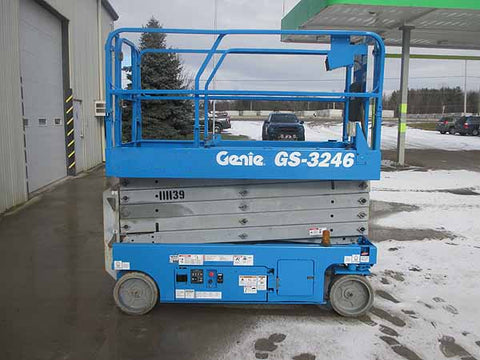 2012 GENIE GS3246 SCISSOR LIFT 32' REACH 24 VOLT ELECTRIC SMOOTH CUSHION TIRES STOCK # BF9112819-HLNY