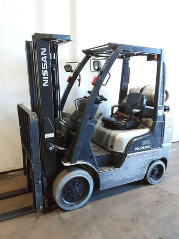 "2012 NISSAN CF50 5000 LB LP GAS FORKLIFT CUSHION 83/187"" 3 STAGE MAST SIDE SHIFTER 10566 HOURS STOCK # BF9232339-NCB"