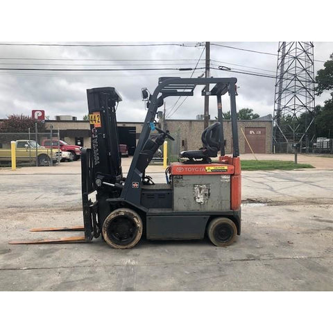 "2010 TOYOTA 7FBCU20 4000 LB 48 VOLT ELECTRIC FORKLIFT CUSHION 83/189"" 3 STAGE MAST SIDE SHIFTER STOCK # BFCE3165-PRTX"