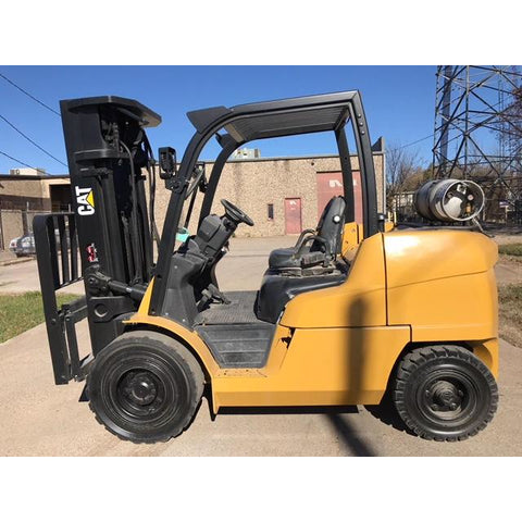 "2013 CATERPILLAR P10000 10000 LB LP GAS FORKLIFT PNEUMATIC 185"" 3 STAGE MAST DUAL TIRES 7300 HOURS STOCK # BFE0638-PRTX"