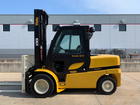 2012 YALE GDP120VX 12000 LB DIESEL FORKLIFT PNEUMATIC 117/169 3 STAGE MAST ENCLOSED CAB SIDE SHIFTING FORK POSITIONER 9007 HOURS STOCK # BF924505-RIL
