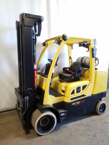 2015 HYSTER S120FTPRS 12000 LB LP GAS FORKLIFT CUSHION 100/208 3 STAGE MAST 7333 HOURS STOCK # BF9218419-NCB