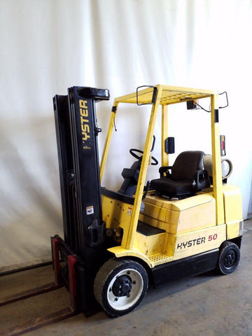 2004 HYSTER S50XM 5000 LB LP GAS FORKLIFT CUSHION 83/189 3 STAGE MAST SIDE SHIFTER 3333 HOURS STOCK # BF9218679-NCB
