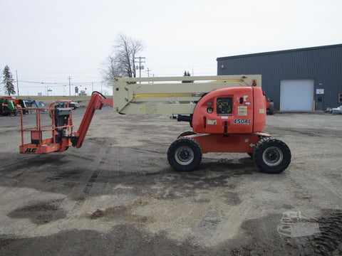 2010 JLG 450AJ ARTICULATING BOOM LIFT AERIAL LIFT WITH JIB ARM 45' REACH DIESEL 4WD 1451 HOURS STOCK # BF9290029-BATNY