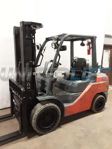"2015 TOYOTA 8FGU32 6500 LB LP GAS FORKLIFT PNEUMATIC 89/187"" 3 STAGE MAST SIDE SHIFTING FORK POSITIONER 4970 HOURS STOCK # BF9226259-NCB"
