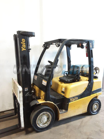"2010 YALE GLP050VX 5000 LB LP GAS FORKLIFT CUSHION 90/200"" 3 STAGE MAST SIDE SHIFTER 5888 HOURS STOCK # BF9231439-NCB"