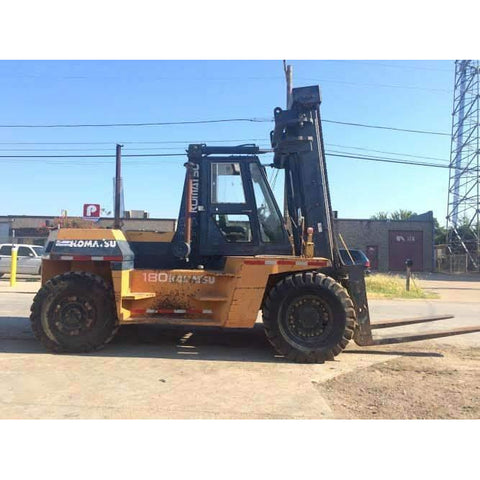 1996 KOMATSU FD180-5 40000 LB CAPACITY DIESEL FORKLIFT PNEUMATIC 171/220 2 STAGE MAST 9238 HOURS STOCK # BFE0323-PRTX