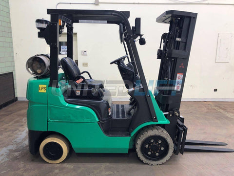 "2015 MITSUBISHI FGC25N4 5000 LB LP GAS FORKLIFT CUSHION 84/188"" 3 STAGE MAST SIDE SHIFTER 10538 HOURS STOCK # BF9013409-BEMIN"