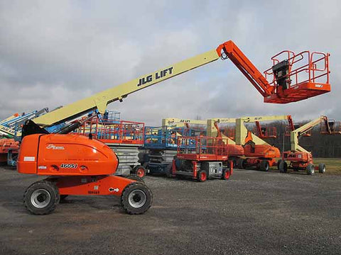2013 JLG 460SJ TELESCOPIC STRAIGHT BOOM LIFT AERIAL LIFT WITH JIB ARM 46' REACH DIESEL 4WD 4017 HOURS STOCK # BF9481669-HLNY