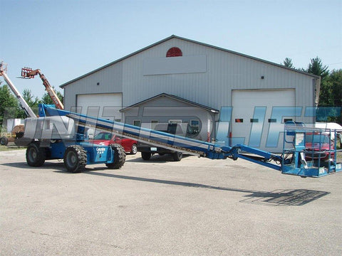 2005 GENIE S85 TELESCOPIC STRAIGHT BOOM LIFT AERIAL LIFT WITH JIB 85' REACH DIESEL 4WD 6900 HOURS STOCK # BF9262239-EEMI