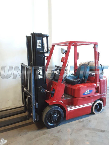 "2002 TAILIFT FG25C 4500 LB LP GAS FORKLIFT CUSHION 84/192"" 3 STAGE MAST SIDE SHIFTER 11801 HOURS STOCK # BF9225109-NCB"