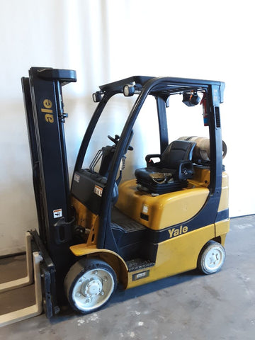 "2012 YALE GLC050VX 5000 LB LP GAS FORKLIFT CUSHION 82/194"" 3 STAGE MAST SIDE SHIFTER 7349 HOURS STOCK # BF9235179-NCB"