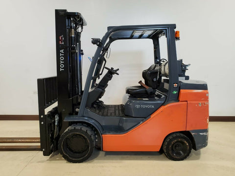 "2020 TOYOTA 8FGC45U 10000 LB LP GAS FORKLIFT CUSHION 92/132"" 2 STAGE MAST SIDE SHIFTER 731 HOURS STOCK # BF9257599-RIL - United Lift Equipment LLC"