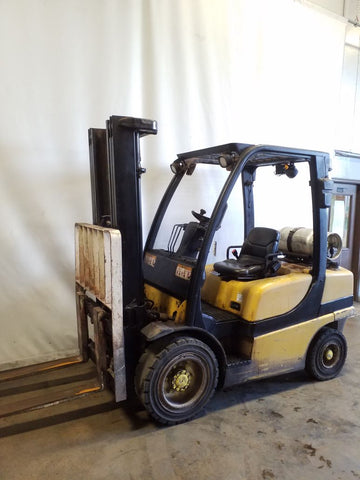 2006 YALE GLP060VX 6000 LB LP GAS FORKLIFT PNEUMATIC 99/187 3 STAGE MAST SIDE SHIFTER 5947 HOURS STOCK # BF9218579-NCB