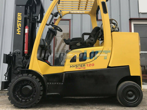 "2009 HYSTER S120FT 12000 LB LP GAS FORKLIFT CUSHION 185"" 3 STAGE MAST SIDE SHIFTING FORK POSITIONER STOCK # BF9930299-MWWI"