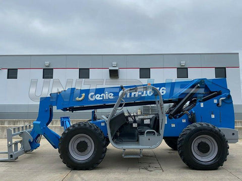 2011 GENIE GTH-1056 10000 LB DIESEL TELESCOPIC FORKLIFT TELEHANDLER OPEN CAB PNEUMATIC 4WD 3114 HOURS STOCK # BF9250189-RIL
